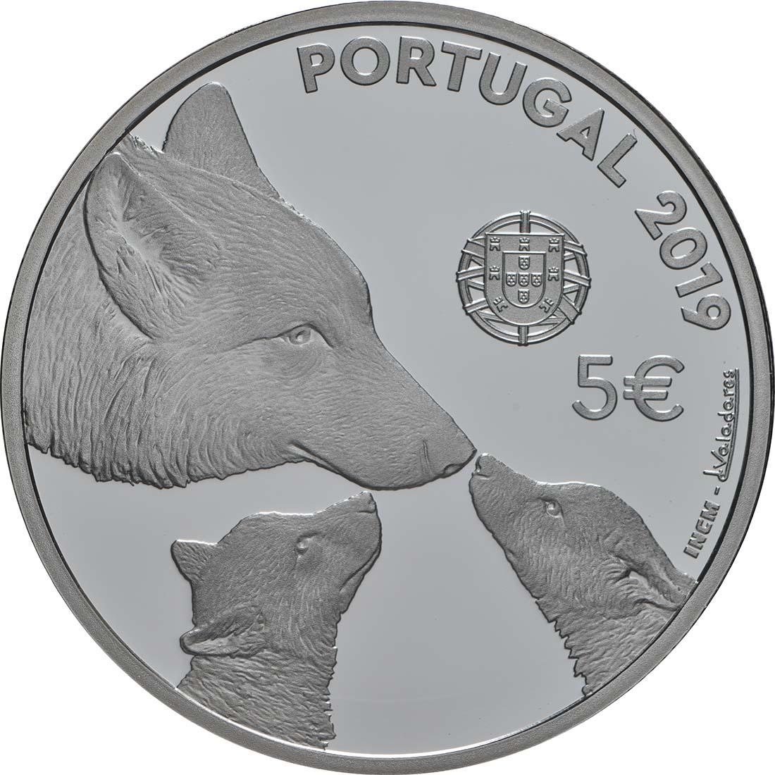 Rückseite:Portugal : 5 Euro Iberischer Wolf  2019 PP
