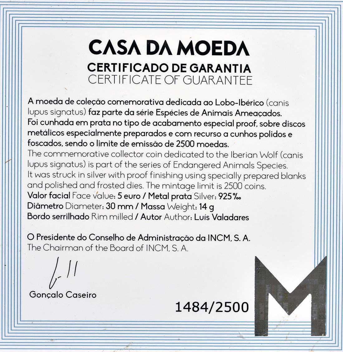 Zertifikat:Portugal : 5 Euro Iberischer Wolf  2019 PP