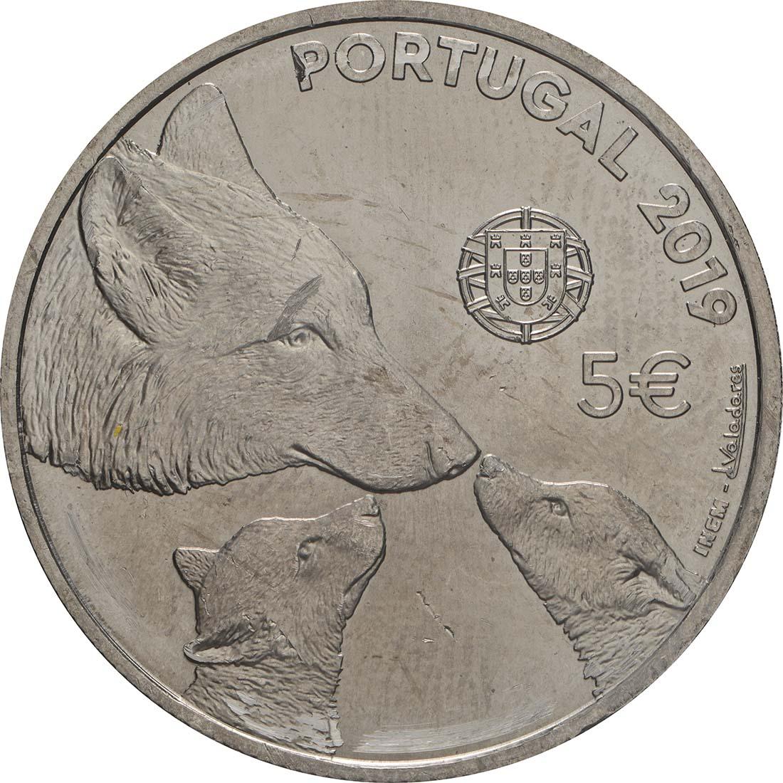 Rückseite:Portugal : 5 Euro Iberischer Wolf  2019 bfr