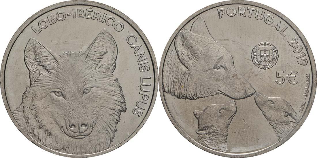 Lieferumfang:Portugal : 5 Euro Iberischer Wolf  2019 bfr