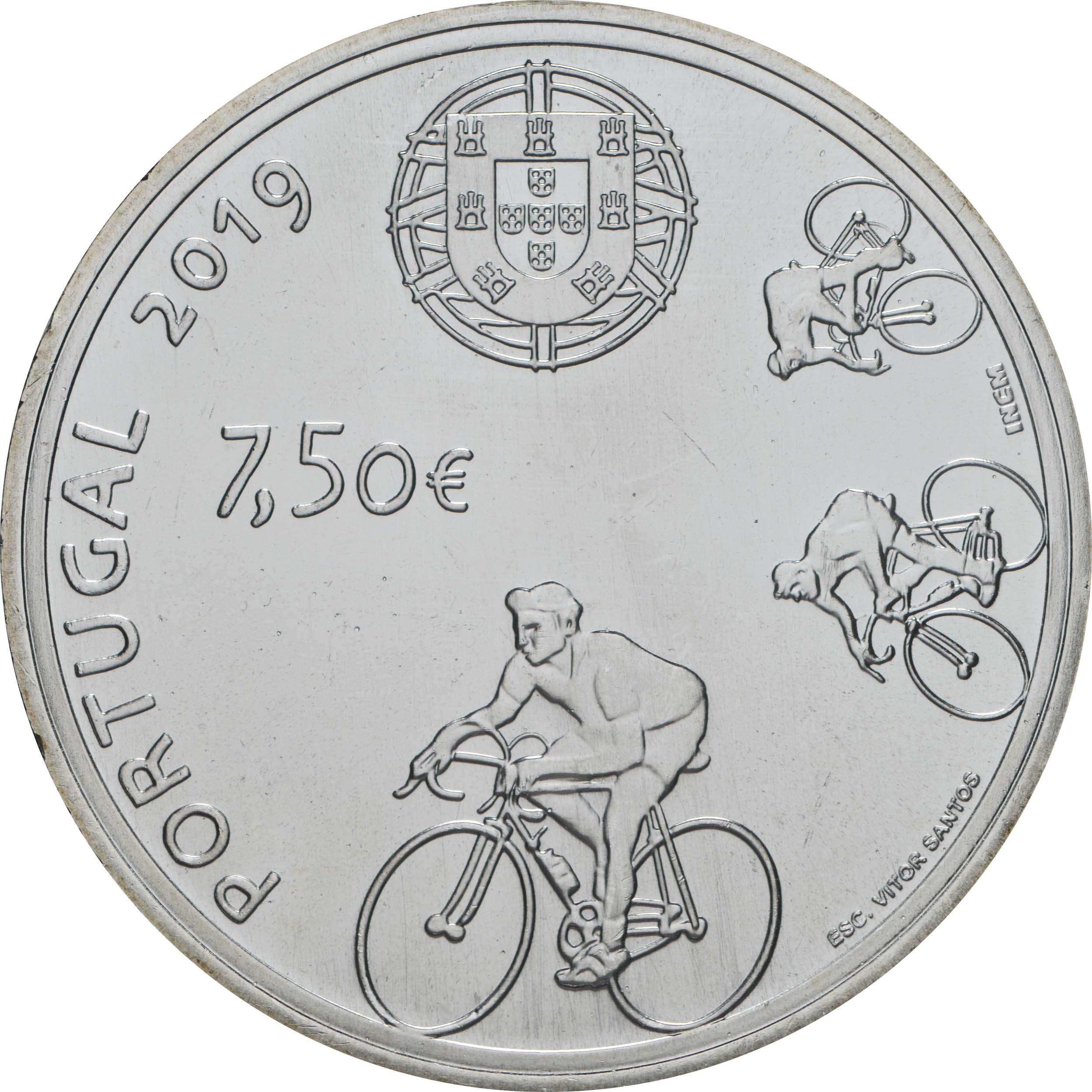 Rückseite:Portugal : 7,5 Euro Joaquim Agostinho  2019 bfr