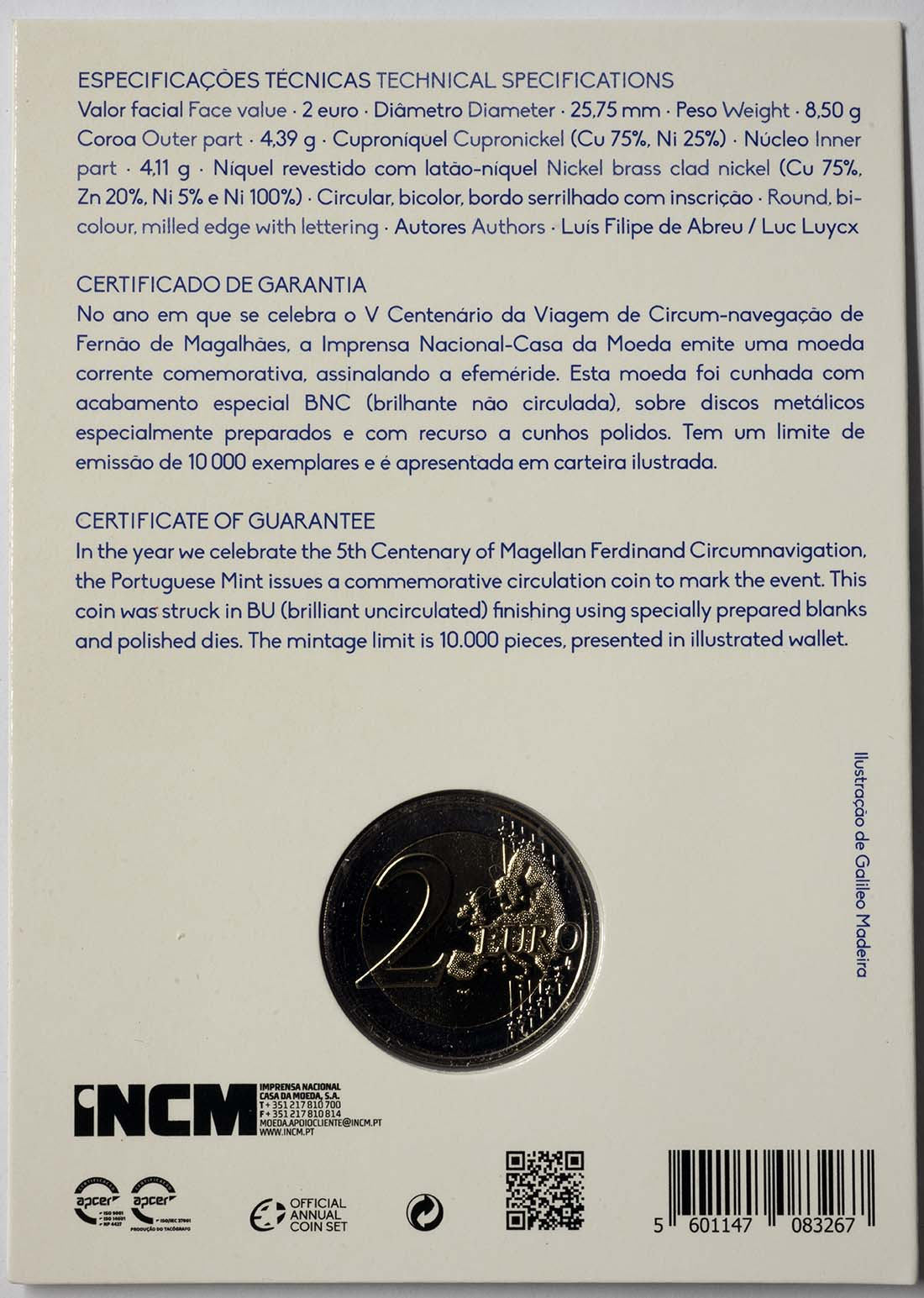 Zertifikat:Portugal : 2 Euro 500. Jahrestag der Weltumseglung durch Magellan  2019 Stgl.