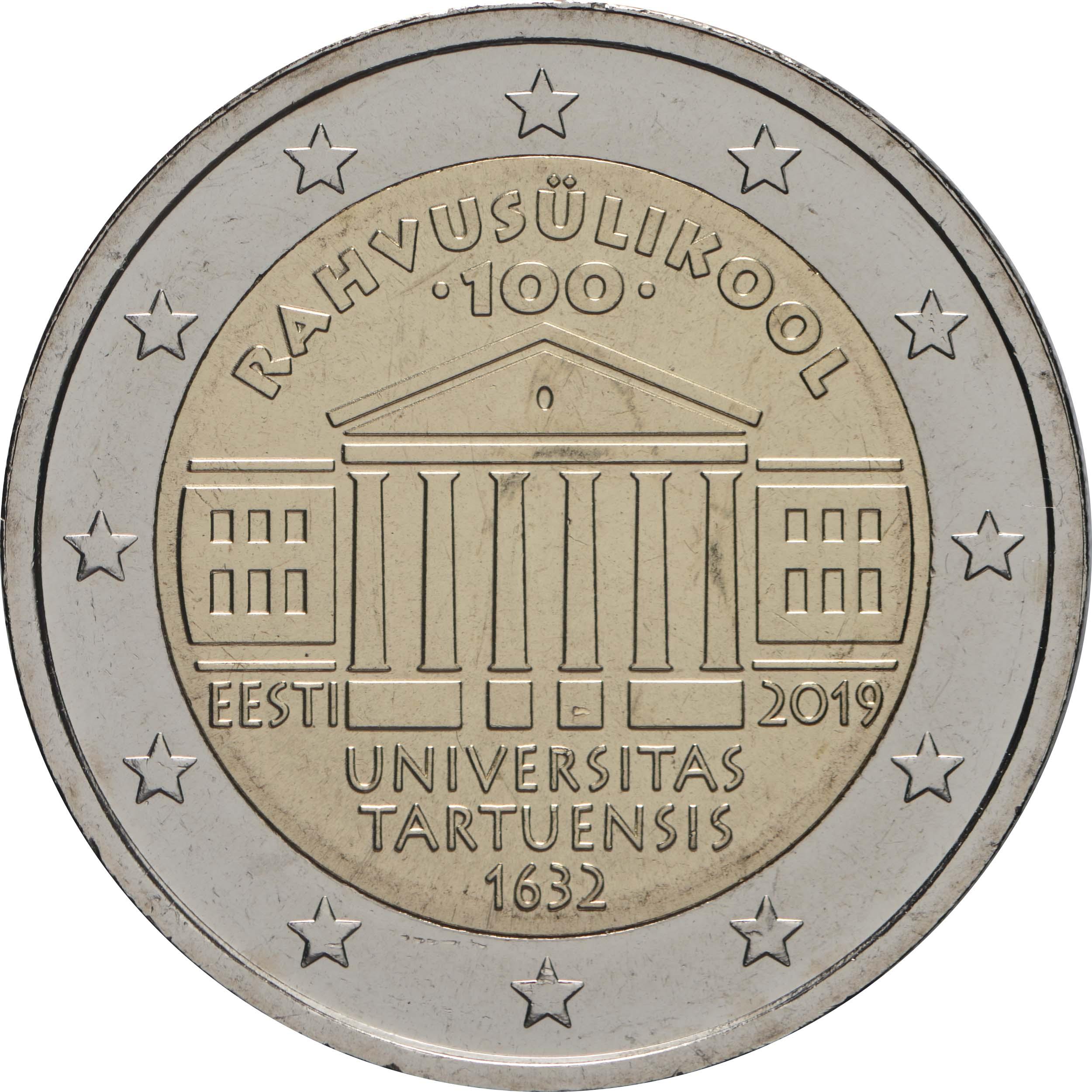 Rückseite:Estland : 2 Euro 100. Jahrestag der Gründung der estnischsprachigen Universität Tartu  2019 bfr