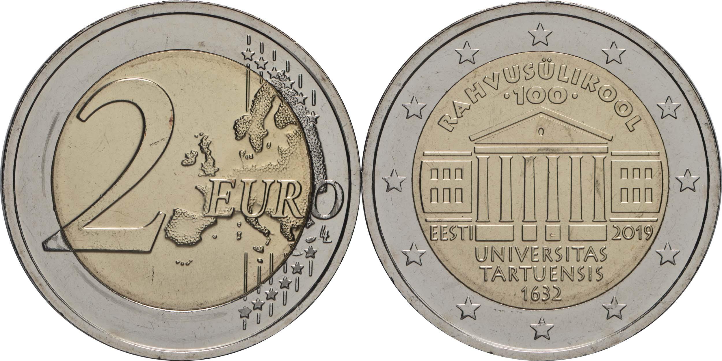 Lieferumfang:Estland : 2 Euro 100. Jahrestag der Gründung der estnischsprachigen Universität Tartu  2019 bfr