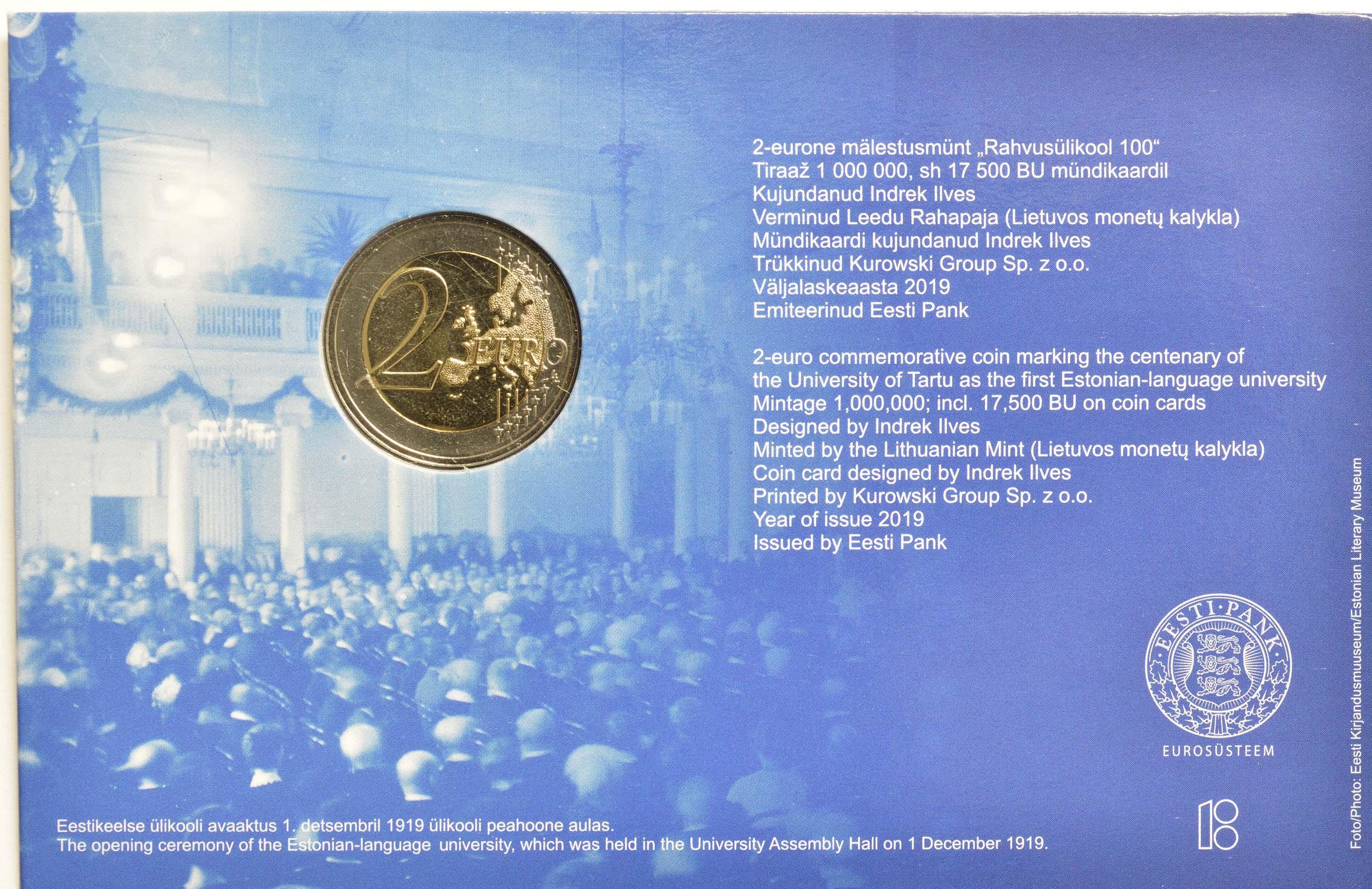 Zertifikat:Estland : 2 Euro 100. Jahrestag der Gründung der estnischsprachigen Universität Tartu  2019 Stgl.
