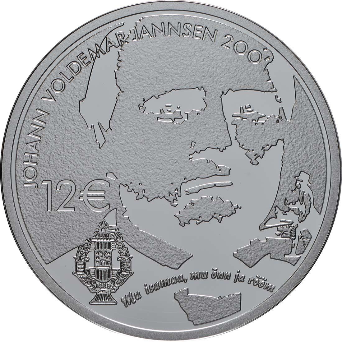 Vorderseite:Estland : 12 Euro 200. Geburtstag Johann Voldemar Jannsen  2019 PP