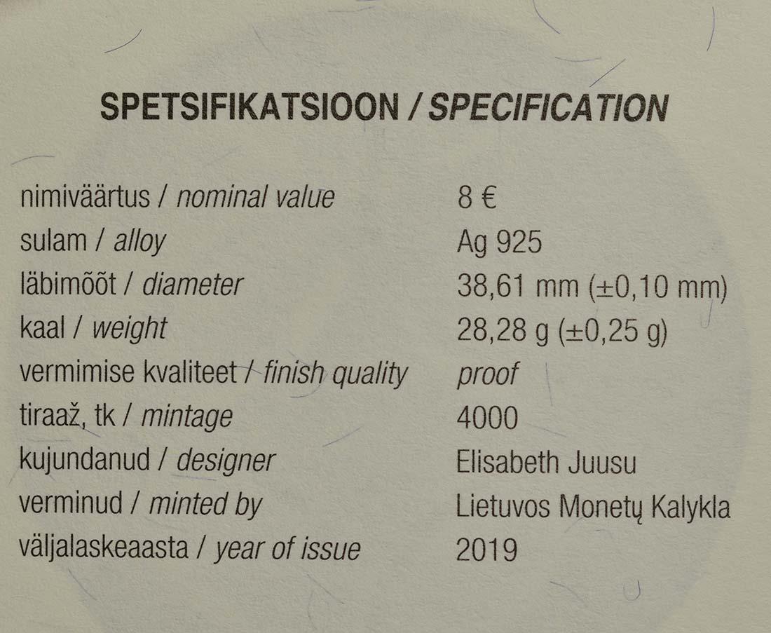 Zertifikat:Estland : 8 Euro Hansestadt Viljandi  2019 PP