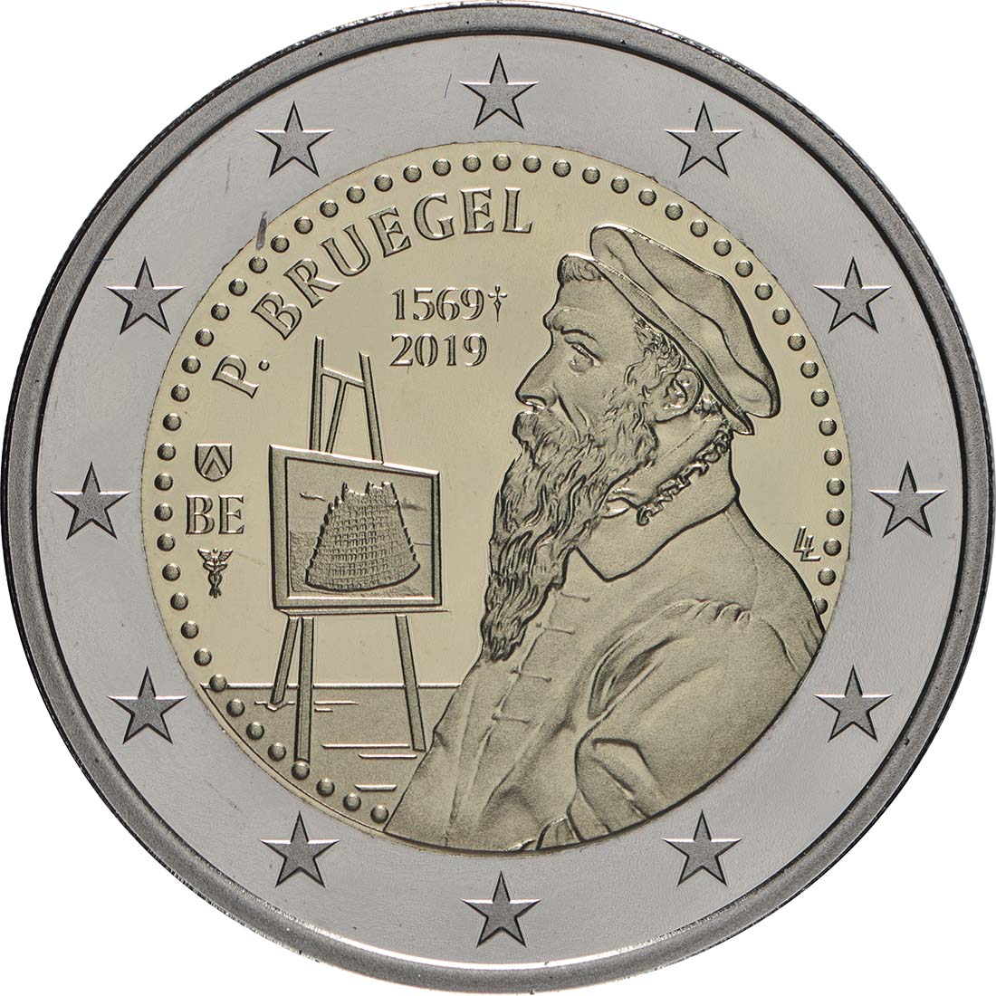Rückseite:Belgien : 2 Euro 450 Jahre Pieter Bruegel der Ältere  2019 PP