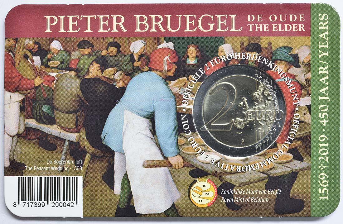 Rückseite:Belgien : 2 Euro 450 Jahre Pieter Bruegel der Ältere  2019 Stgl.