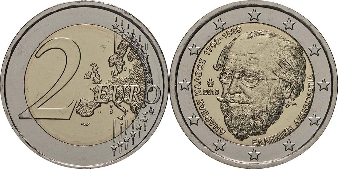 Lieferumfang:Griechenland : 2 Euro 150. Todestag von Andreas Kalvos  2019 bfr