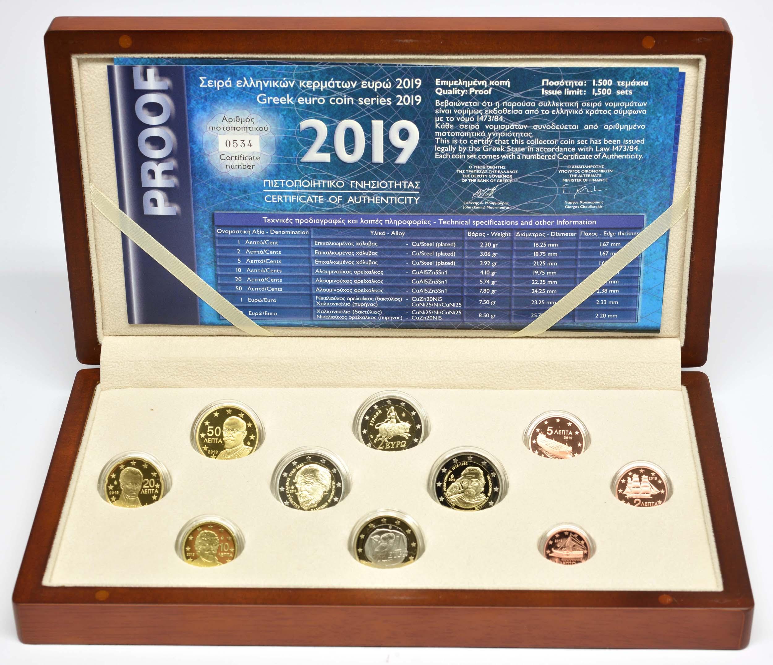 Lieferumfang:Griechenland : 7,88 Euro KMS Griechenland inkl. 2x2 Euro Gedenkmünzen  2019 PP