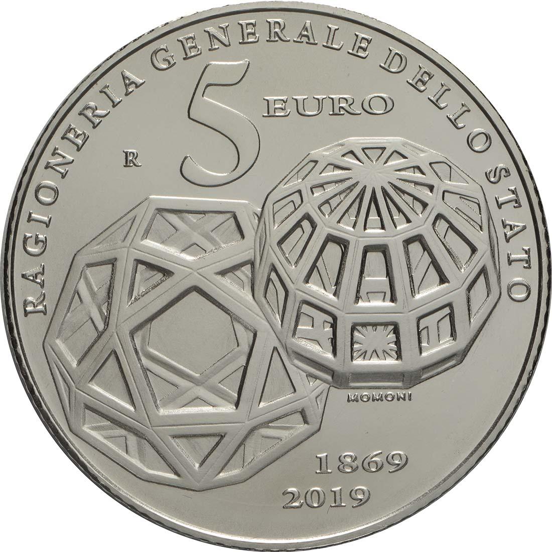 Rückseite:Italien : 5 Euro 150. Jahre Staatsrechnungshof - coloriert  2019 Stgl.