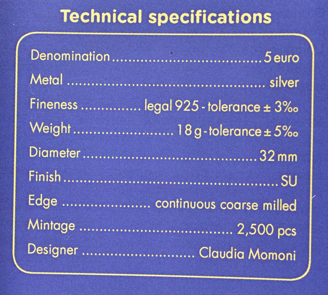 Zertifikat:Italien : 5 Euro 150. Jahre Staatsrechnungshof - coloriert  2019 Stgl.