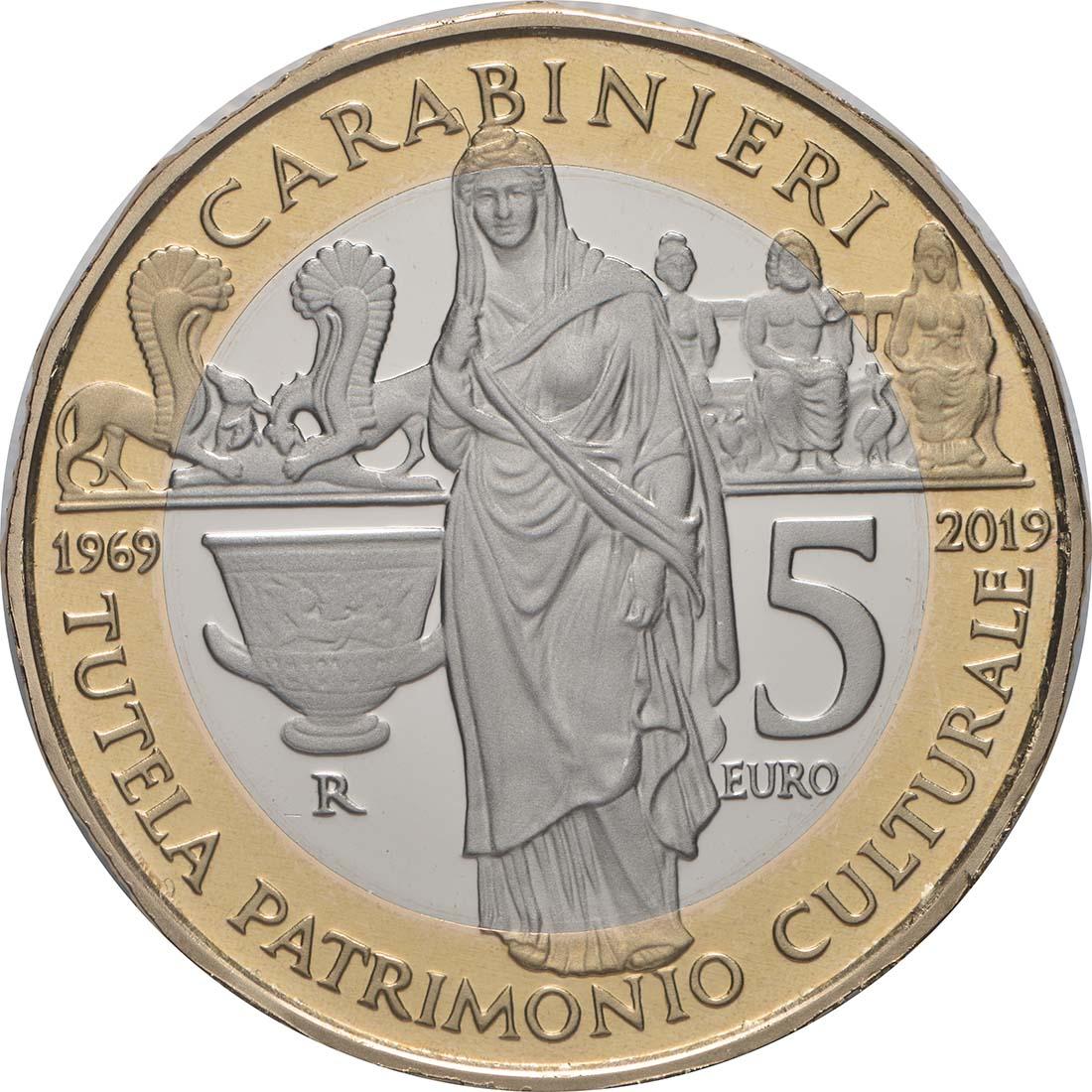 Rückseite:Italien : 5 Euro 50. Jahrestag der Gründung der Carabinieri-Abteilung zum Schutz des Kulturerbes  2019 PP