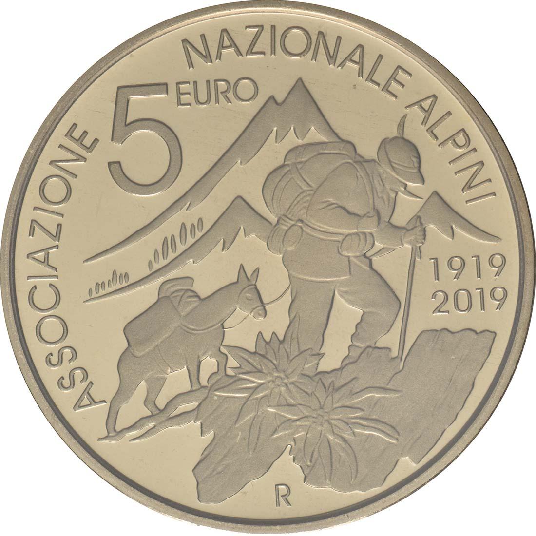 Rückseite:Italien : 5 Euro 100 Jahre Alpine Vereinigung  2019 Stgl.