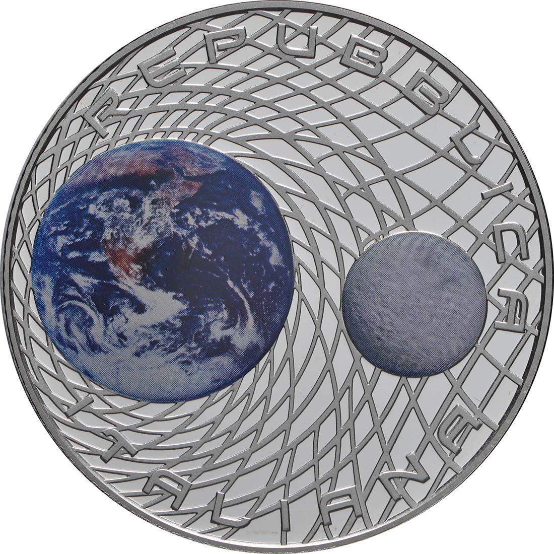 Rückseite:Italien : 5 Euro 50. Jahrestag der Landung auf dem Mond - coloriert  2019 PP