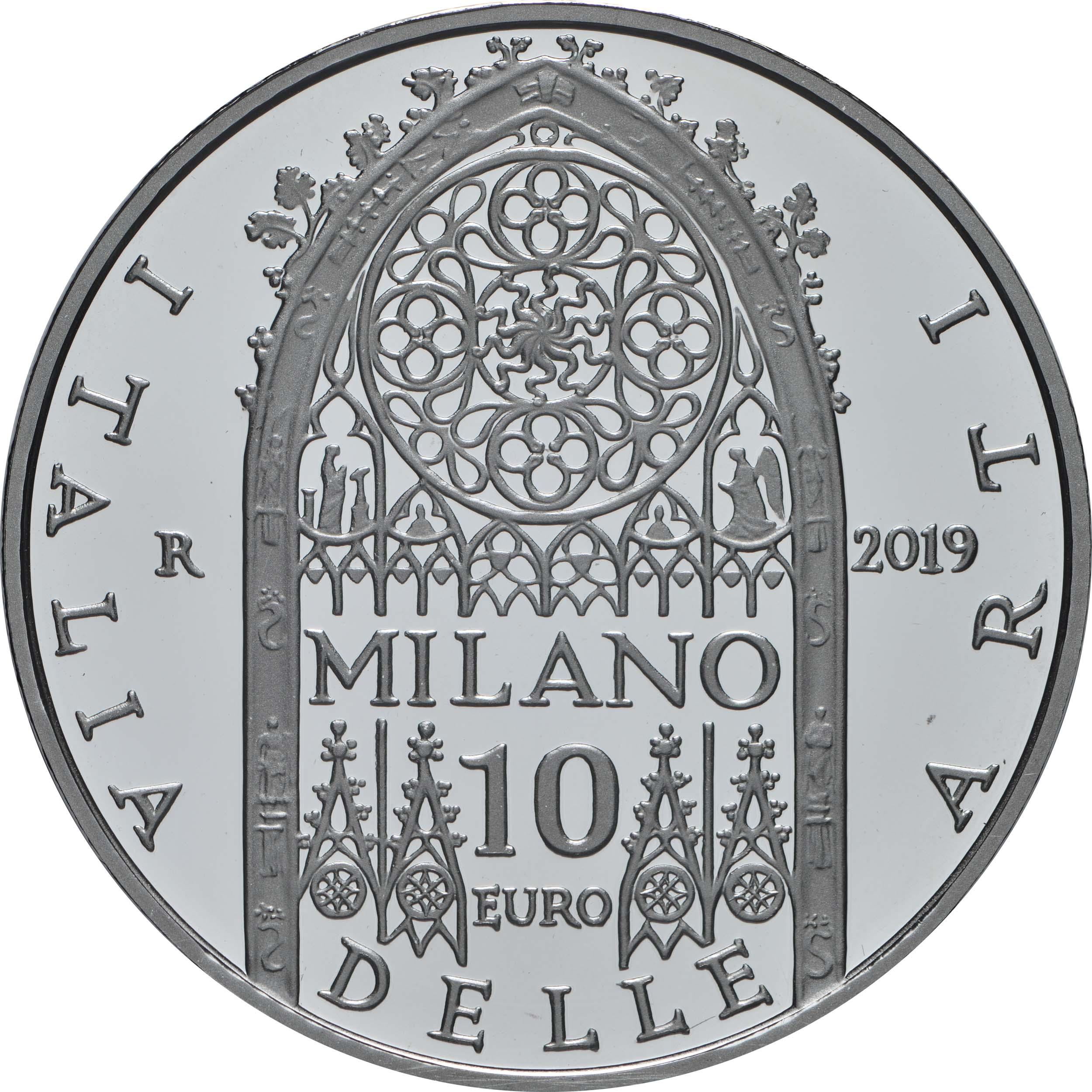 Rückseite:Italien : 10 Euro Lombardei - Mailänder Dom  2019 PP