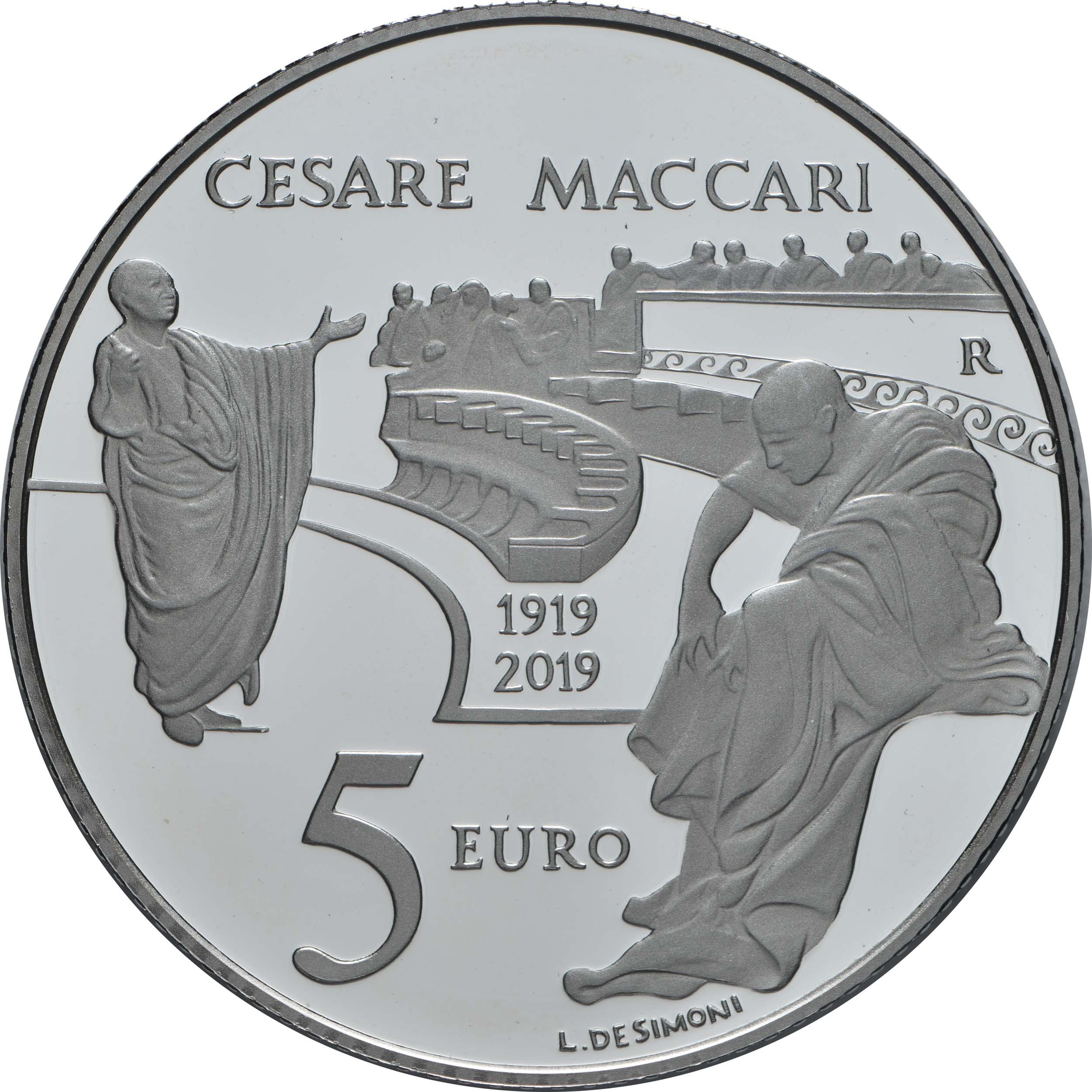 Rückseite:Italien : 5 Euro 100. Todestag Cesare Maccari  2019 PP