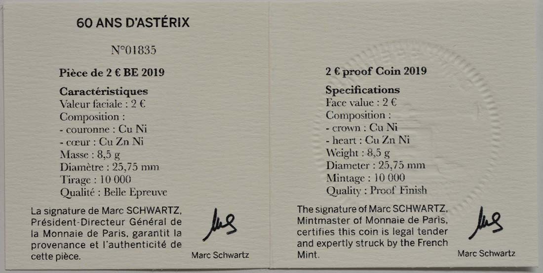 Zertifikat:Frankreich : 2 Euro Asterix  2019 PP