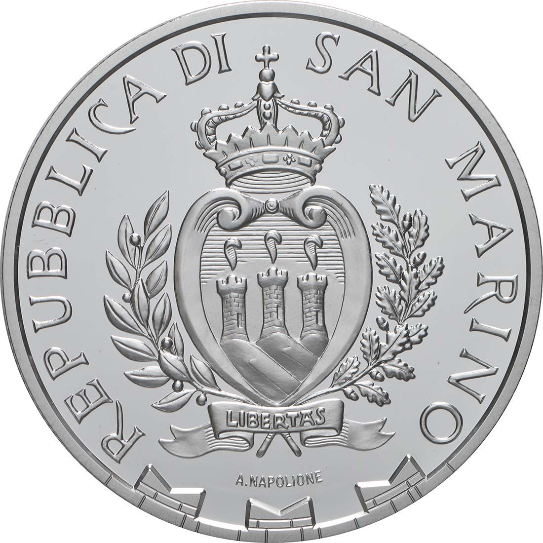 Rückseite:San Marino : 5 Euro 50 Jahre Erste Mondlandung  2019 PP