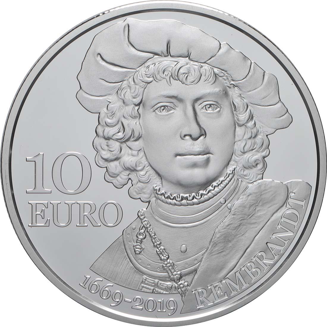 Vorderseite:San Marino : 10 Euro 550. Todestag Rembrandt  2019 PP