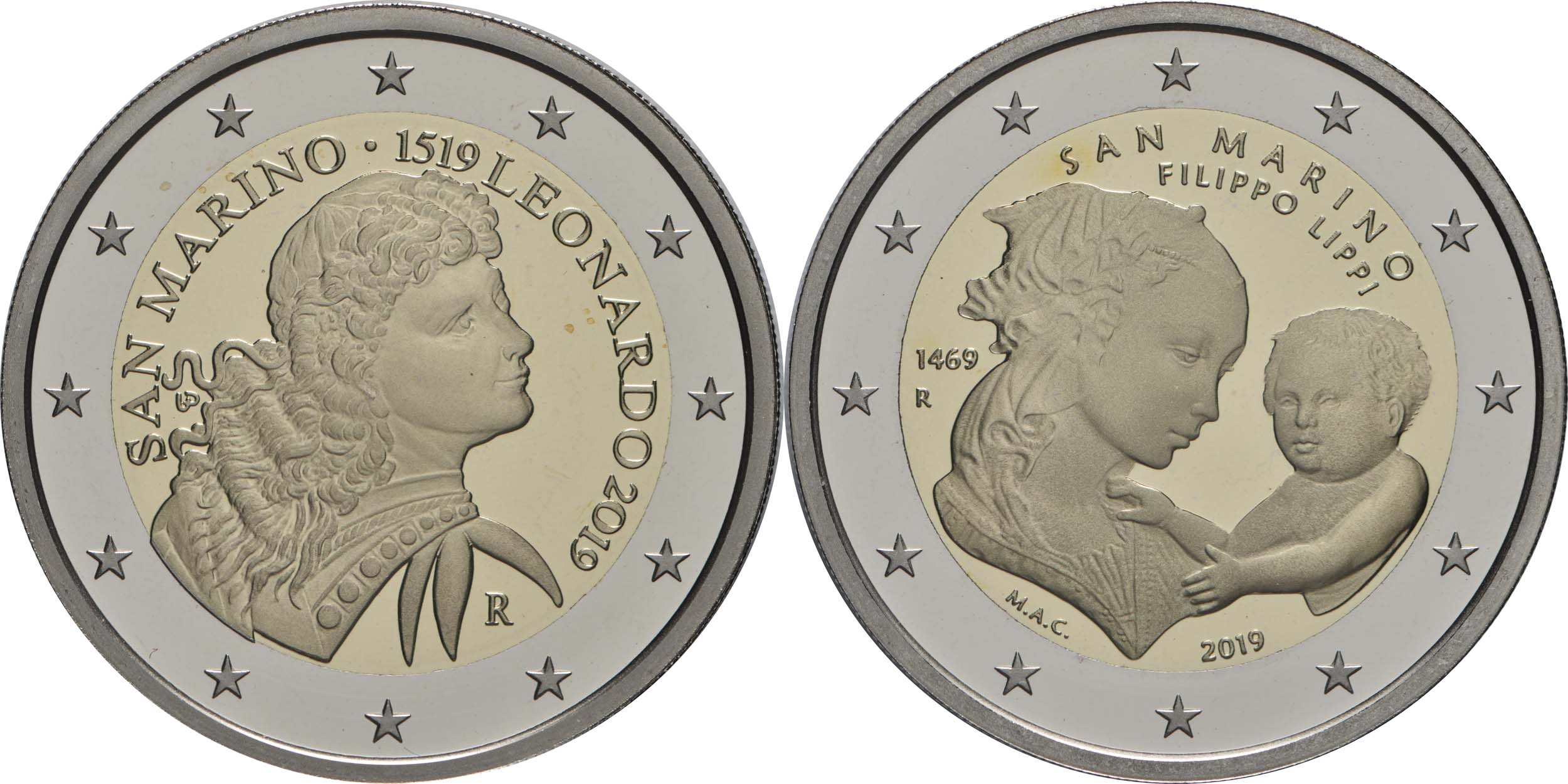 Rückseite:San Marino : 7,88 Euro KMS San Marino mit 2 x 2 Euro Gedenkmünzen  2019 PP