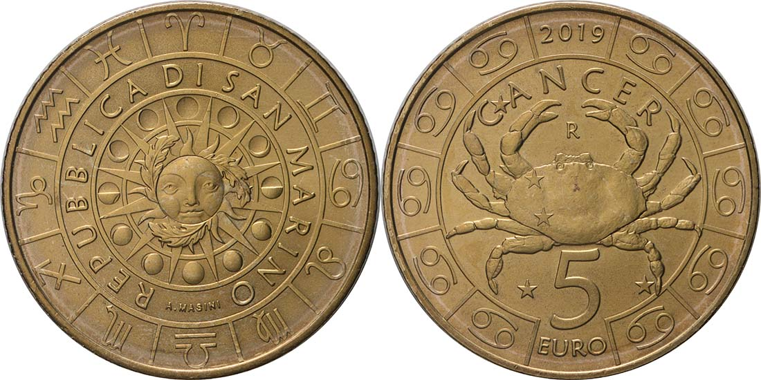 Lieferumfang:San Marino : 5 Euro Krebs  2019 bfr