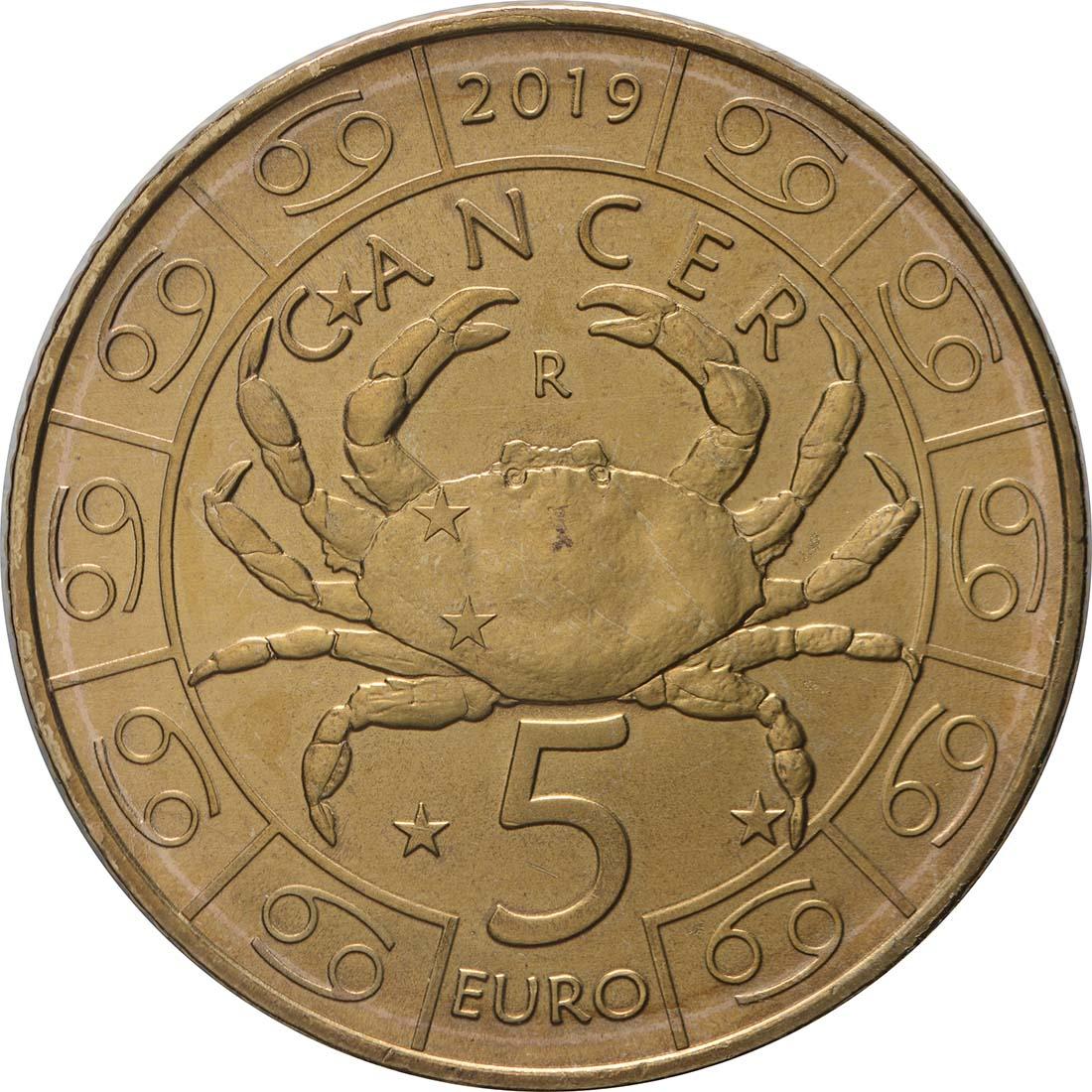 Vorderseite:San Marino : 5 Euro Krebs  2019 bfr