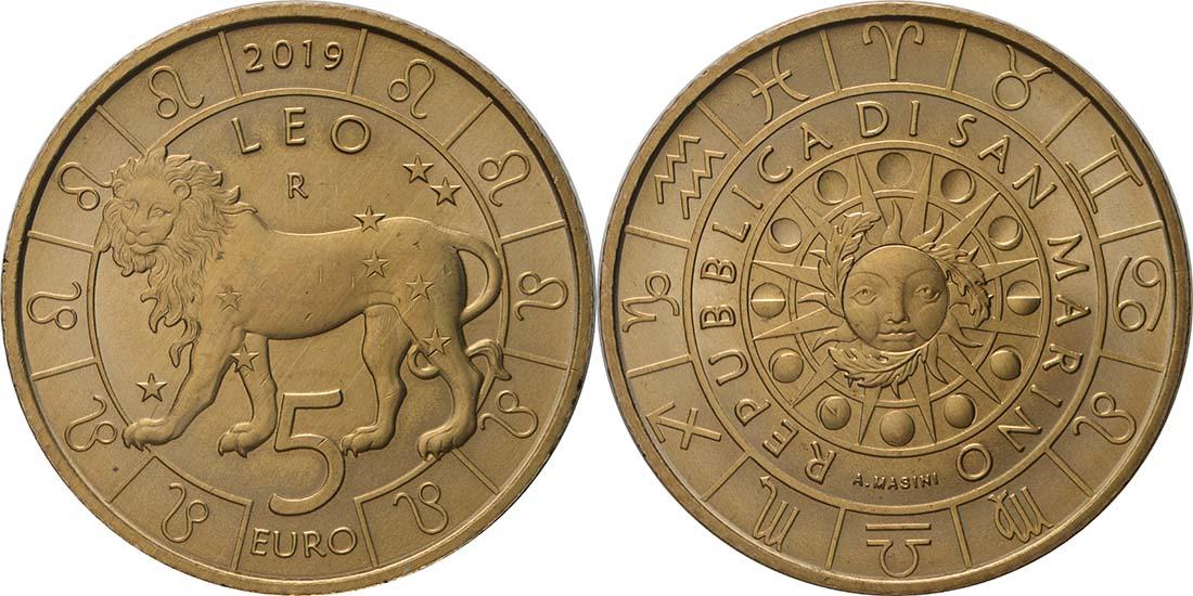 Lieferumfang:San Marino : 5 Euro Löwe  2019 bfr
