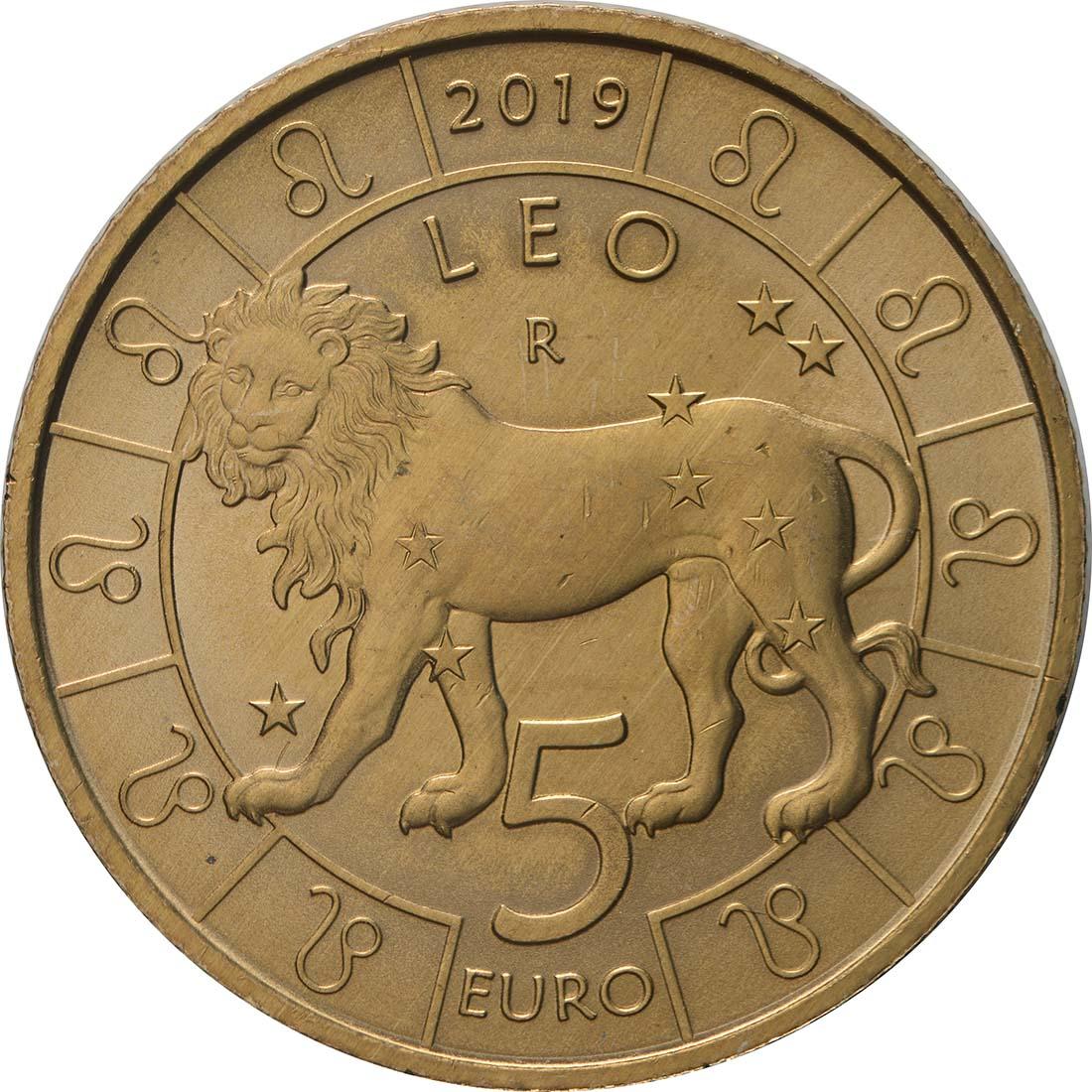 Vorderseite:San Marino : 5 Euro Löwe  2019 bfr