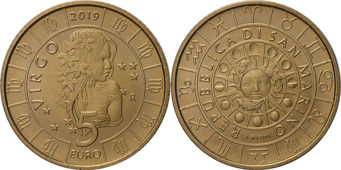 Lieferumfang:San Marino : 5 Euro Jungfrau  2019 bfr