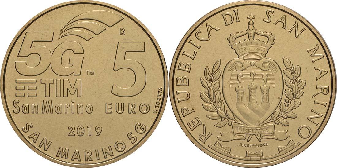 Lieferumfang:San Marino : 5 Euro 5G-Netzwerk in San Marino  2019 bfr
