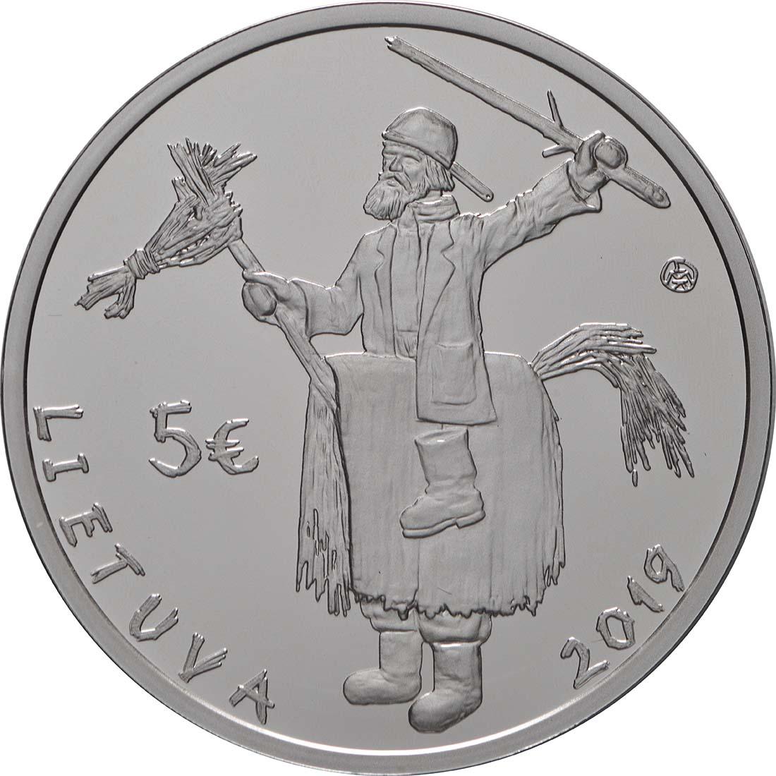 Rückseite:Litauen : 5 Euro Winterende - Uzgavenes - coloriert   2019 PP