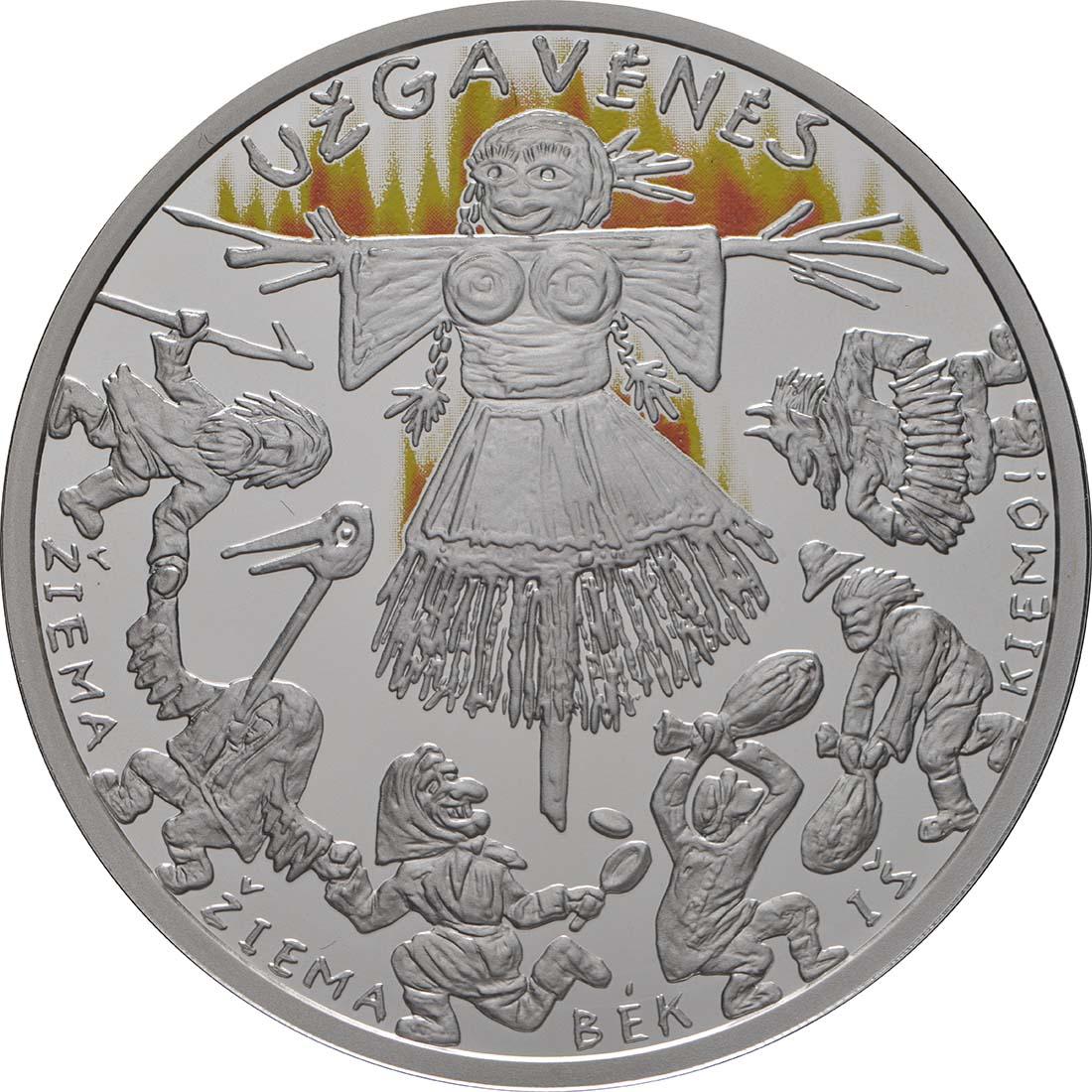 Vorderseite:Litauen : 5 Euro Winterende - Uzgavenes - coloriert   2019 PP