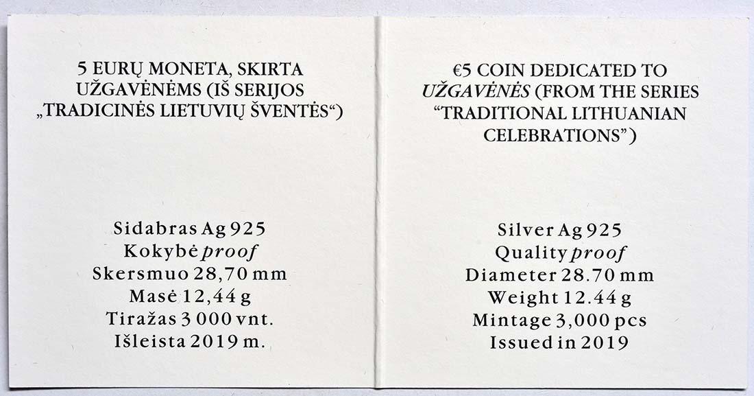 Zertifikat:Litauen : 5 Euro Winterende - Uzgavenes - coloriert   2019 PP