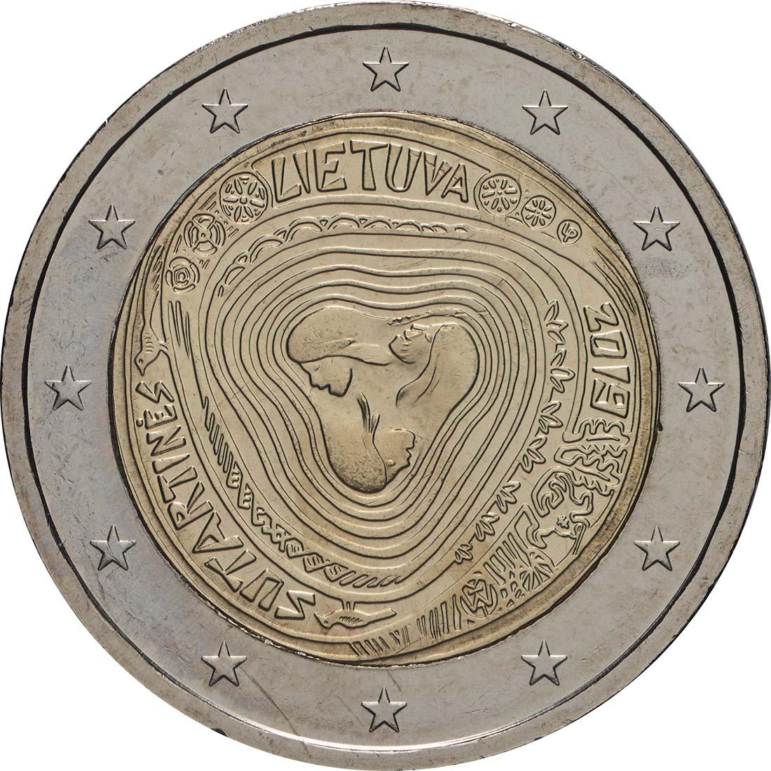 Rückseite:Litauen : 2 Euro Sutartines - Litauische Volkslieder  2019 bfr