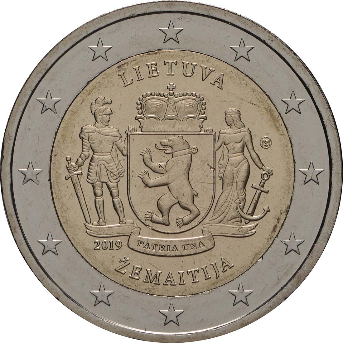 Rückseite:Litauen : 2 Euro Zemaitija (Samogitien)  2019 bfr