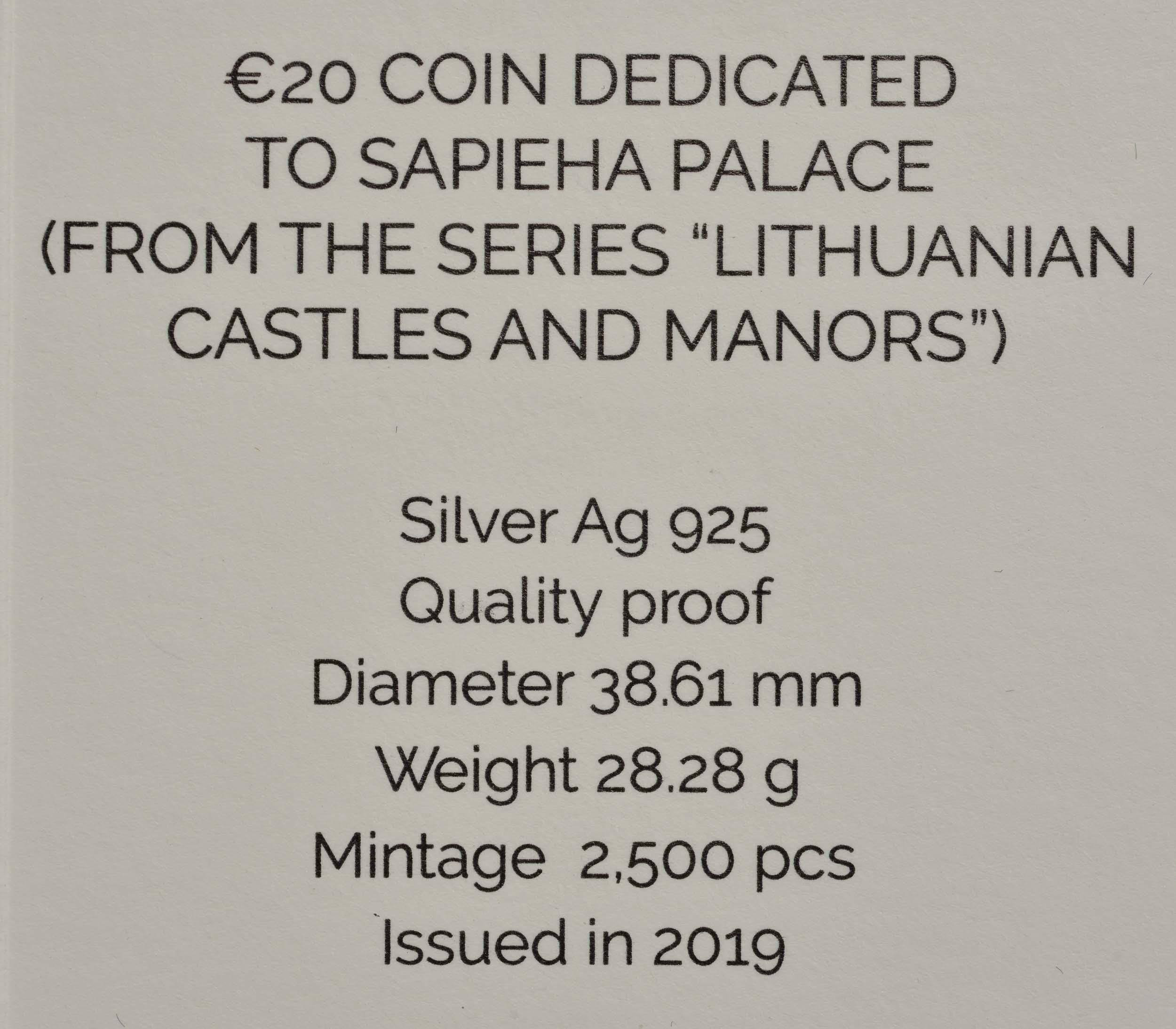 Zertifikat:Litauen : 20 Euro Sapieha Palast  2019 PP