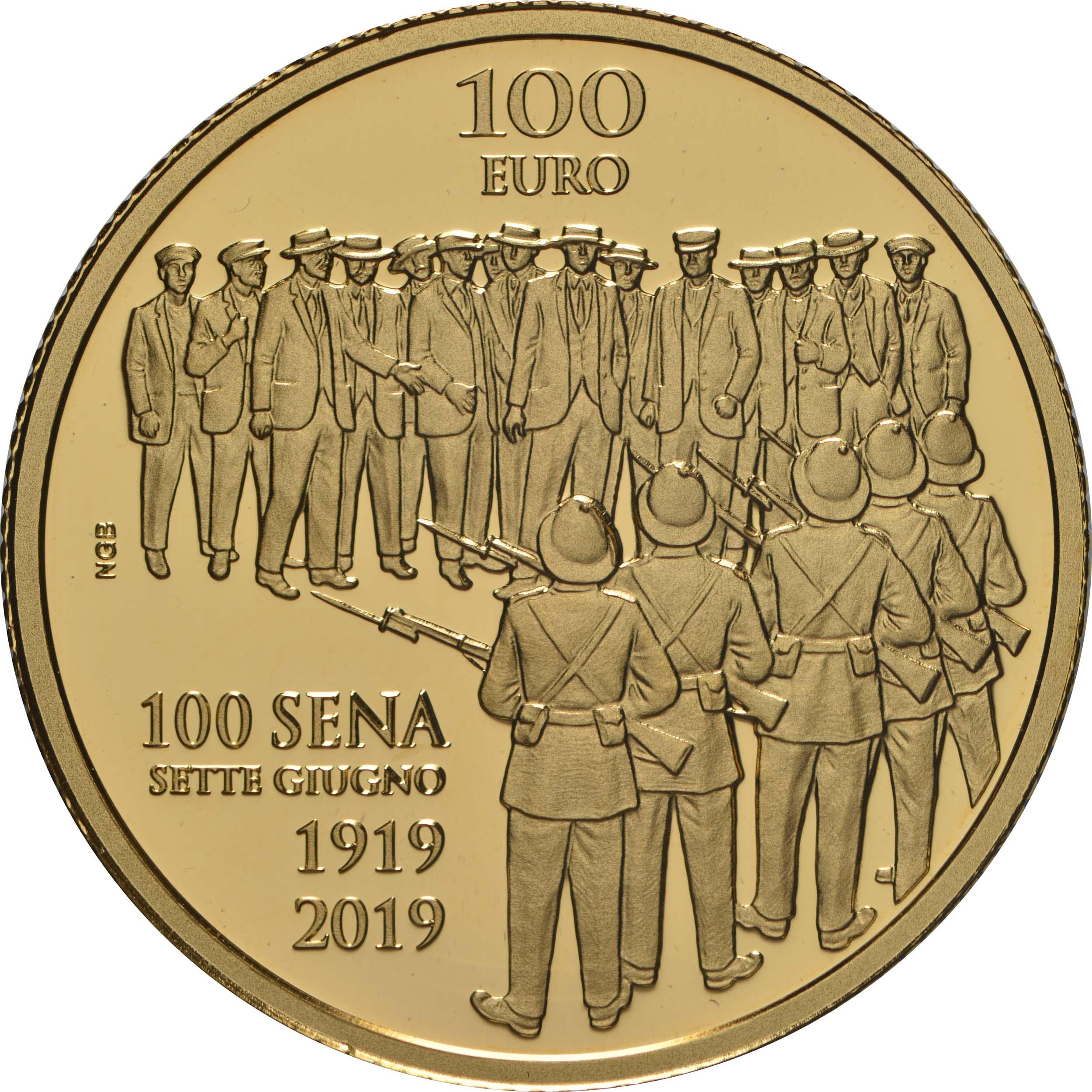 Vorderseite:Malta : 100 Euro Sette Giugno - Aufstand gegen die britische Militärverwaltung 1919  2019 PP
