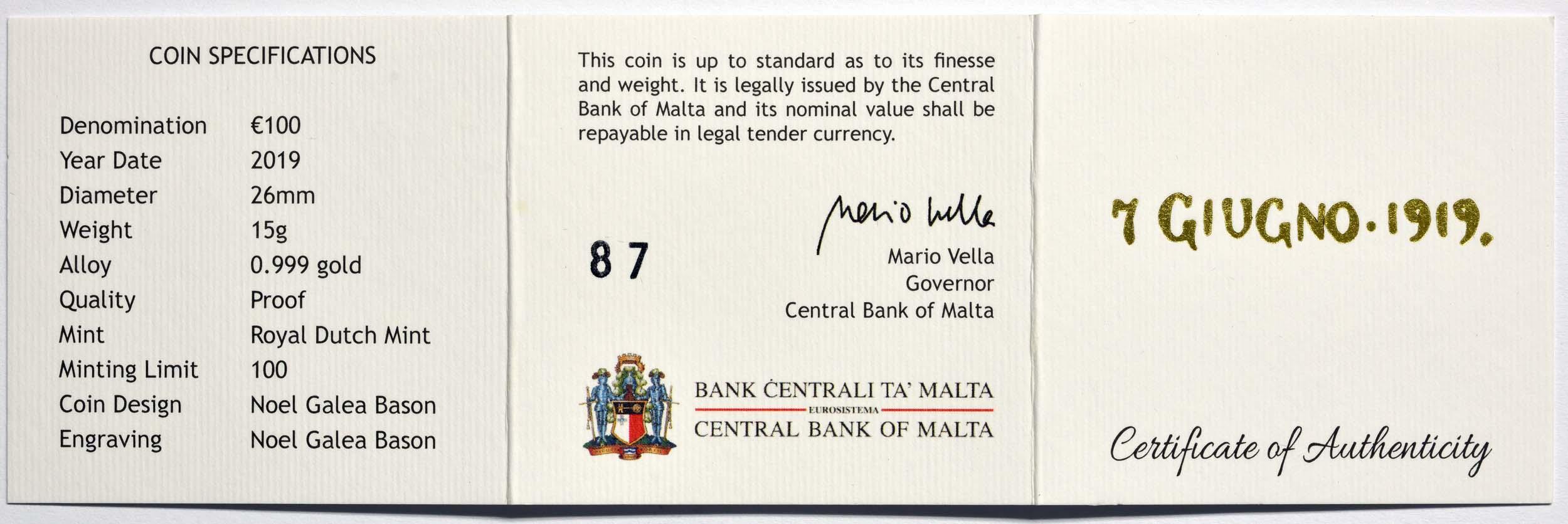 Zertifikat:Malta : 100 Euro Sette Giugno - Aufstand gegen die britische Militärverwaltung 1919  2019 PP