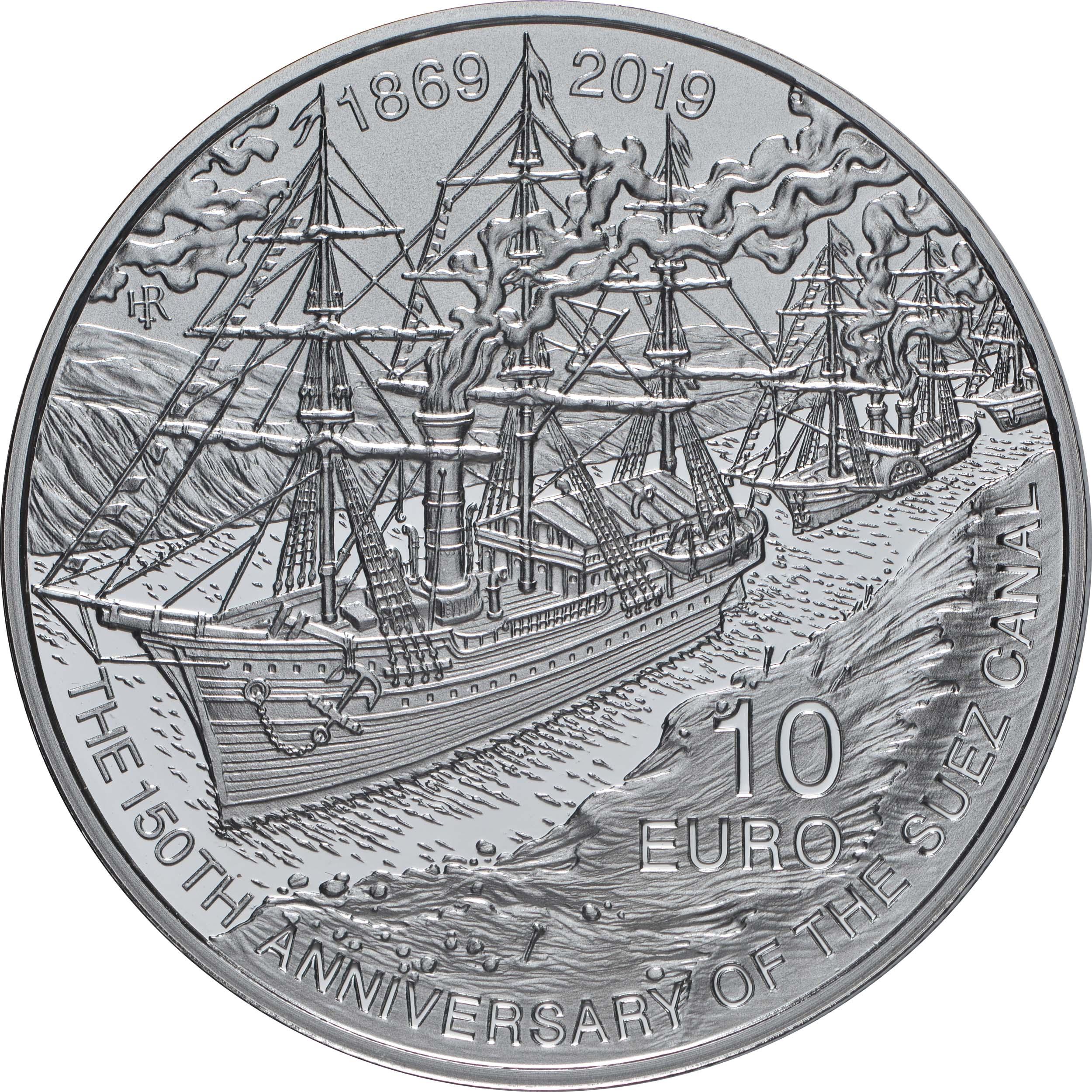 Vorderseite:Malta : 10 Euro 150 Jahre Suezkanal  2019 PP