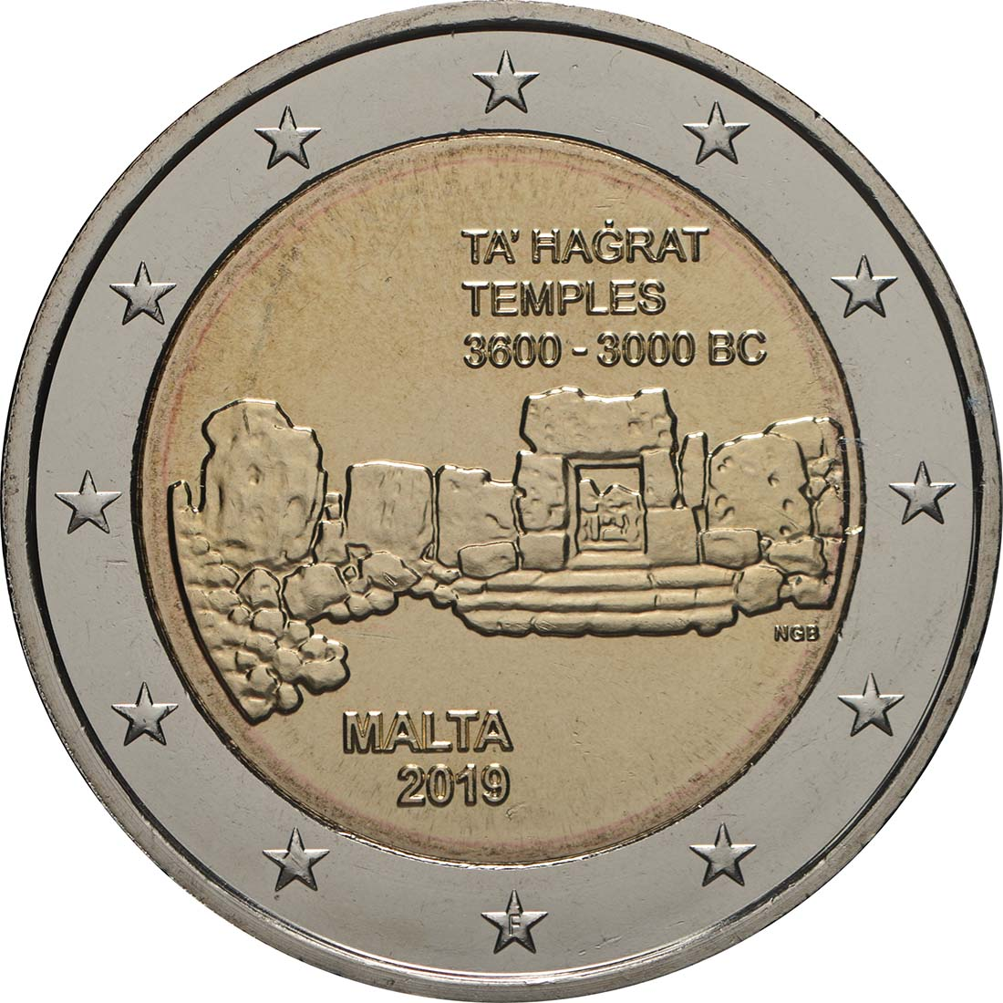 Rückseite:Malta : 2 Euro Ta Hagrat  2019 bfr