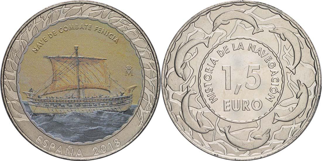 Lieferumfang:Spanien : 1,5 Euro Phönizisches Kriegsschiff  2018 Stgl.