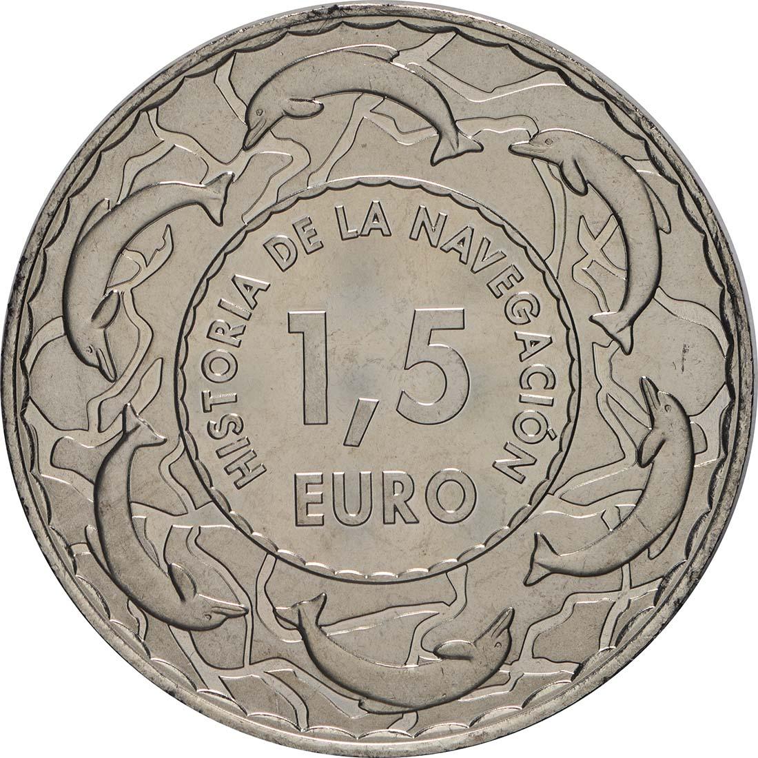 Rückseite:Spanien : 1,5 Euro Skandinavischer Drakkar #2  2018 Stgl.