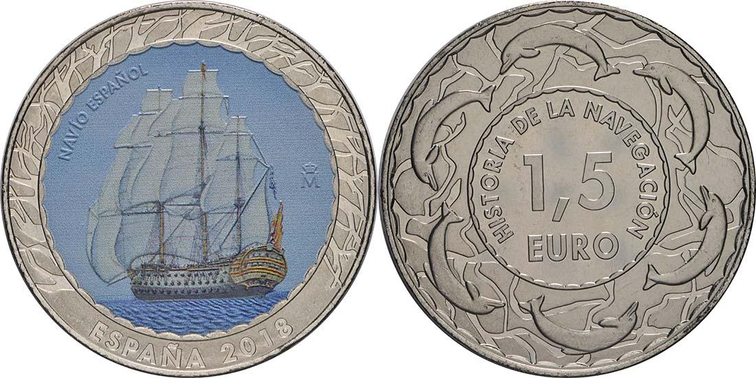 Lieferumfang:Spanien : 1,5 Euro Spanisches Frachtschiff  2018 Stgl.