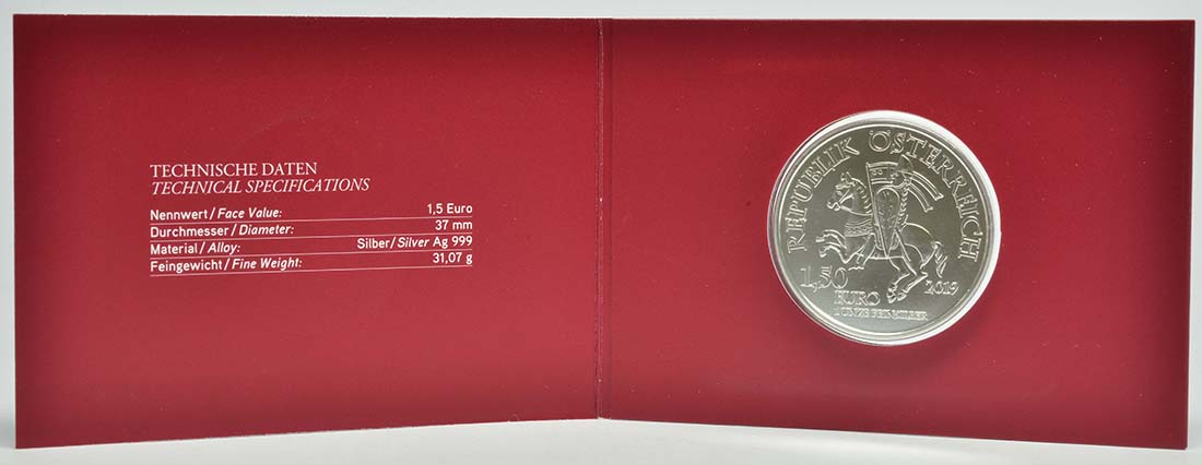 Lieferumfang:Österreich : 1,5 Euro Leopold V.  2019 Stgl.
