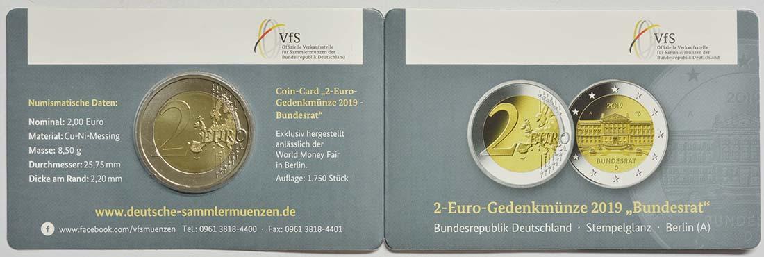 Zertifikat:Deutschland : 2 Euro Bundesrat  2019 bfr