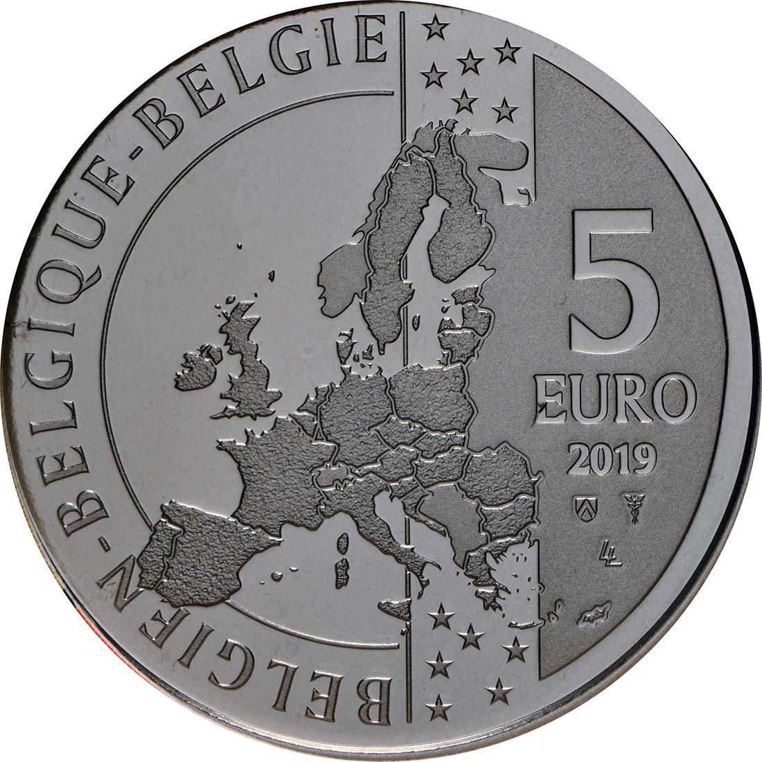 Rückseite:Belgien : 5 Euro 90 Jahre Tintin - Tim und Struppi  2019 Stgl.
