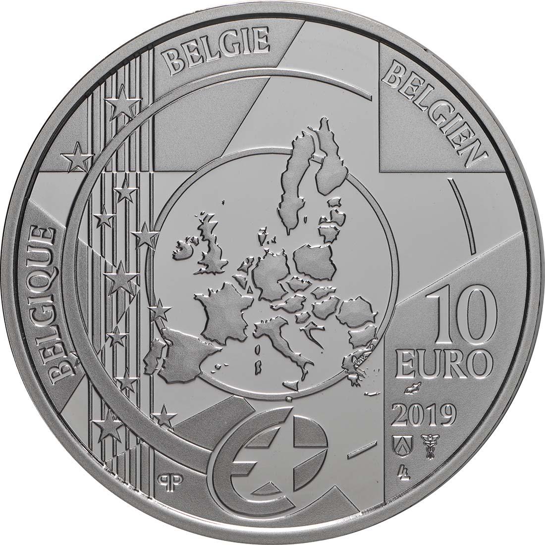 Rückseite:Belgien : 10 Euro Renaissance Brügel  2019 PP