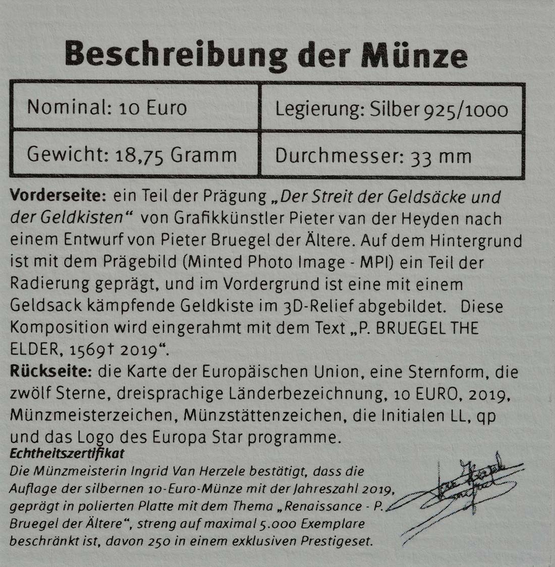Zertifikat:Belgien : 10 Euro Renaissance Brügel  2019 PP
